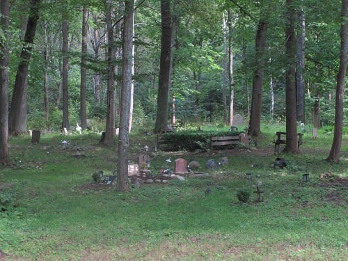 A burial ground in the middle of the woods.