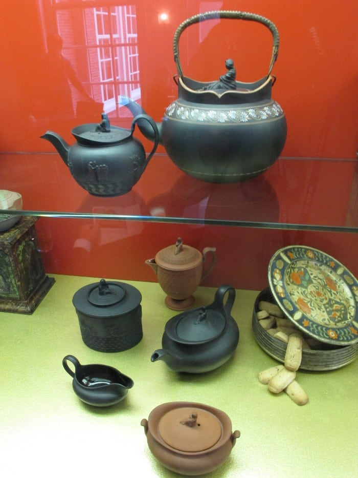 Teapots on display in the restaurant